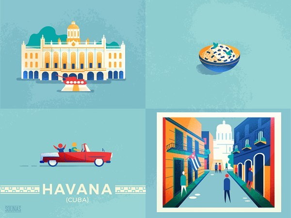 :::Havana, Cuba - details from travel posters::: :::Αβάνα, Κούβα, γραφικά αφισών:::