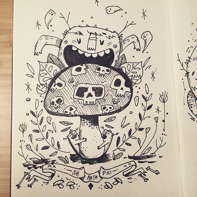 Poisonous #inktober #inktober2018 #mushroom #poison #monster #doodle #illustration #ink