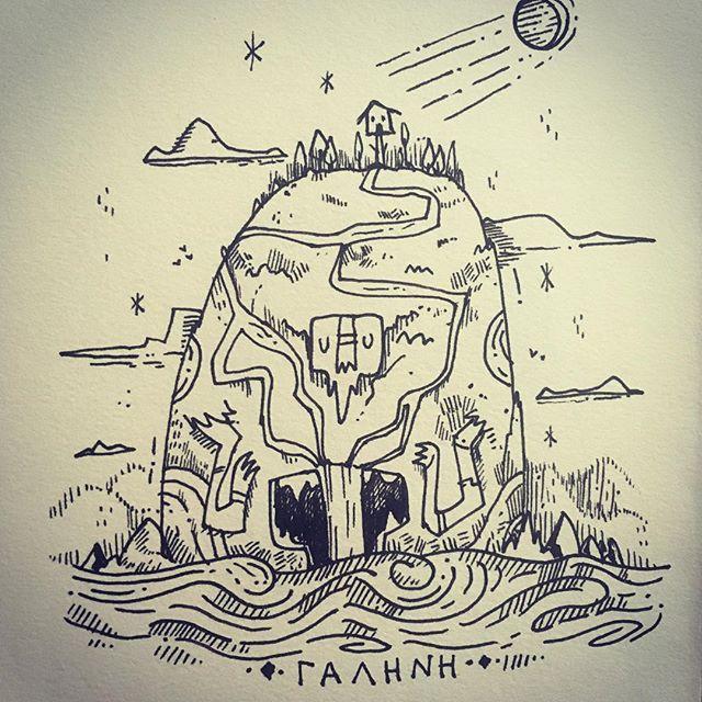 :::Tranquil-Γαλήνη::: #inktober2018 #inktober #ink #doodle #εικονογράφηση #sounas #landscape #island #conceptart #illustragram #illustration #doodle