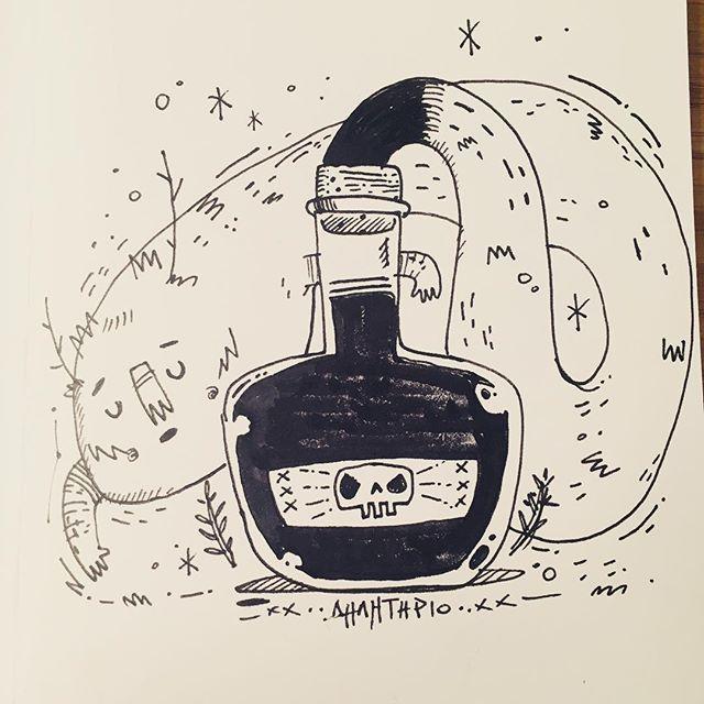 :::Poison-Δηλητήριο:::#poisonous #inktober #inktober2018 #timelapse #illustration #ink #character #dailyart #illustragram