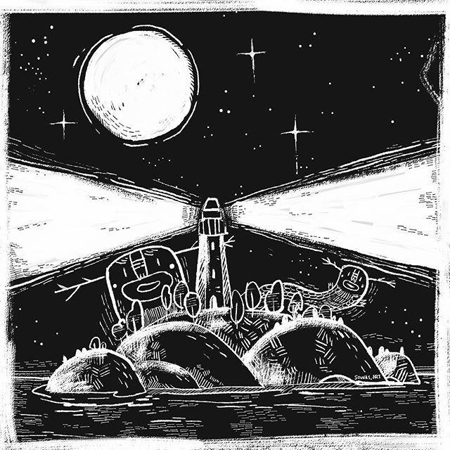 "Inktober  Day 15 ""LIGHT"" illustration made with Adobe Sketch on ipad#AdobeMAXContest #Inktober #illustration #inktober2018 #AdobeDrawing_inktober #illustragram @adobedrawing #lighthouse #moon #εικονογράφηση"