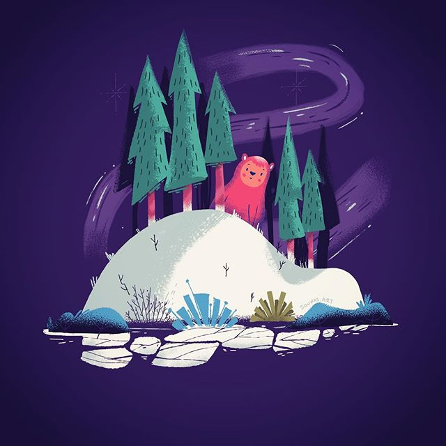 #ipadart #illustration #bear #winter #timelapse #procreate