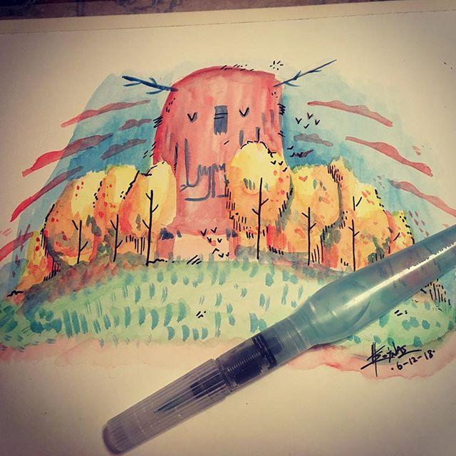 Watercolour test #monster #εικονογράφηση #ακουαρέλα #watercolor #doodle