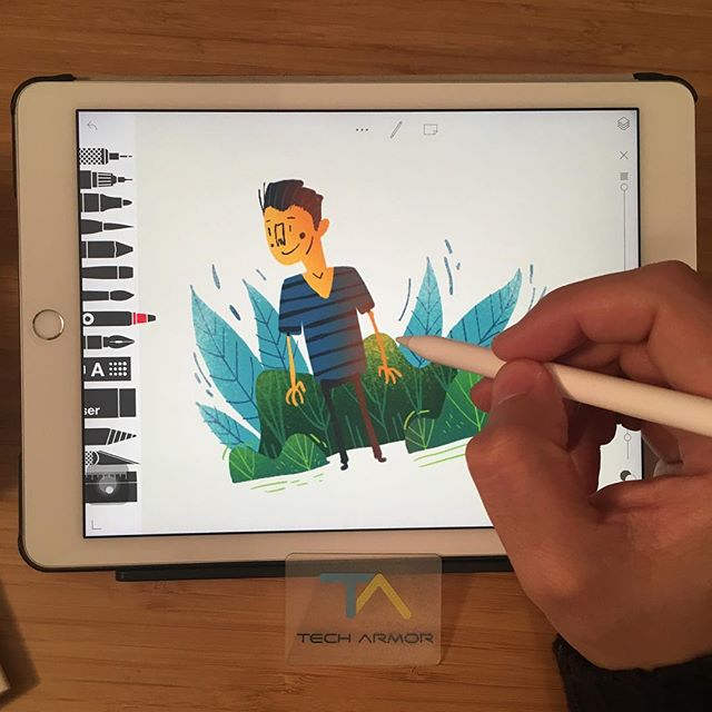 ":::I recently bought ""Tech Armor Anti-Glare/Anti-Fingerprint Film screen protector for ipad"" . It's perfect for drawing on ipad, it gives a nice paper feeling at low cost. I highly recommend it!! Thanks to @yasiddesign and @annasancewicz.illustration  for suggesting me that film :) Εάν θέλετε να ζωγραφίζετε στο ipad και να έχετε την αίσθηση χαρτιού για πιο φυσική εμπειρία, συνιστώ την εξής (φθηνή) μεμβράνη «Tech Armor Anti-Glare/Anti-Fingerprint Film screen protector for ipad». Δοκιμάστε την :) ::: #ipadart #techarmor #ipadartwork #illustration #tayasuisketches #ipadaccessories"