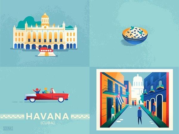 :::Havana, Cuba - details from travel posters::::::Αβάνα, Κούβα, γραφικά αφισών::: #icons #havana #cuba #illustration #vector #illustrator #minimal #cityscape #εικονογράφηση