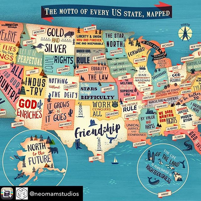 :::The Motto of every US state mapped::: #infographic #graphicdesigns #usa #map
