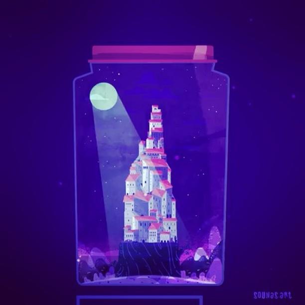 ::: Citadel in jar:::Animation loop#illustration #loop #jar #illustragram #motionloops