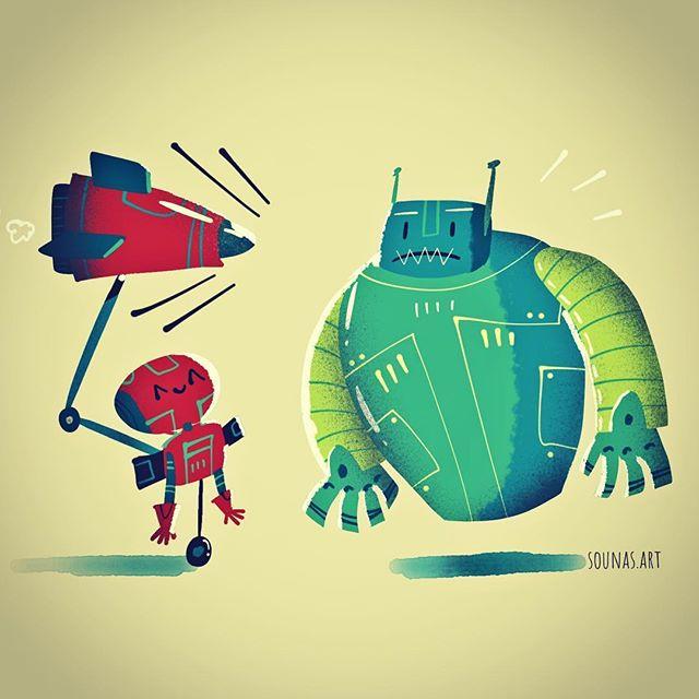 :::Robot Surprise - ipad art made with Tayasui Sketches:::#ipadartwork #illustration #ipadart #tayasuisketches #εικονογράφηση #robot #illustration #