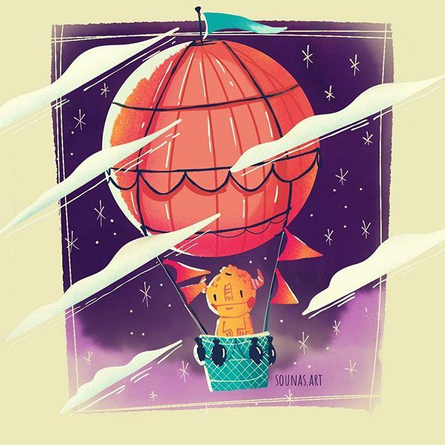 :::Air balloon - ipad sketch::: #made_in_sketches #doodles #illustration #balloon #childrenillustrations #ipadart #ipadartwork