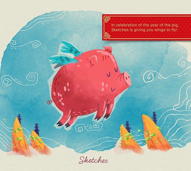 :::Flying pig illustration for Tayasui Sketches app::: #made_in_sketches #tayasuisketches #illustration #εικονογράφηση #sounas #doodle #ipadart