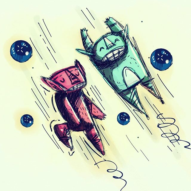 :::Monster Jumpers::: #made_in_sketches #tayasuisketchesapp #ipadart #doodle #sketchy #conceptart #character_design