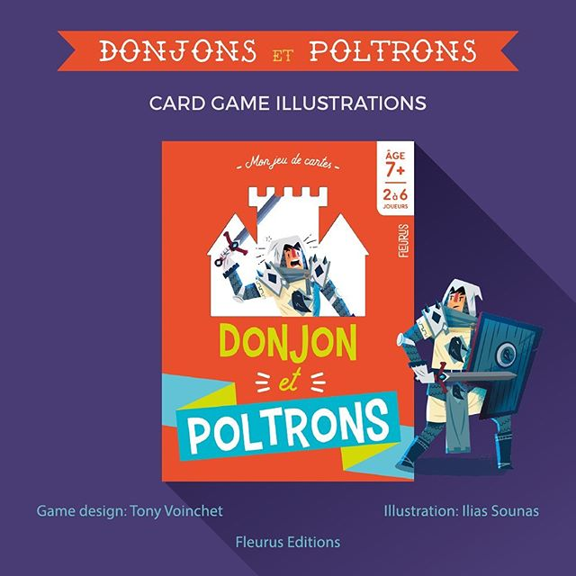 """Illustrations for french card game """"Donjon et Poltrons"""" by Fleurus Editions.Art by Ilias Sounas and Game Design by Tony Voinchet. A card game for ages 7 and up, for 3 to 5 players.#cardgame #illustration #character_design #εικονογράφηση #illustragram #boardgameart #monsters #fantasy #rpg #dungeon"""