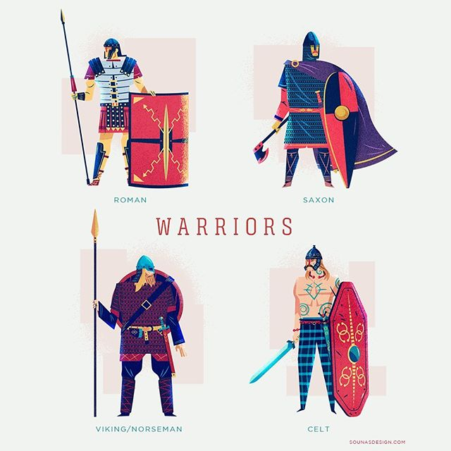 :::Warriors-Πολεμιστές::: #saxon #roman #celt #viking #norse #warriors #adobedrawing #vector #greekdesign #greekillustrator #sounas #εικονογράφηση