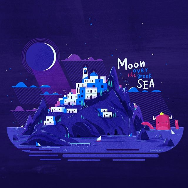 :::Moon over the greek sea::: A fun illustration for summer nights in greek islands.#vector #vectorart #greece #greekislands #moon #adobedrawing #adobeillustrator #εικονογράφηση #greekdesigners  #character #landscape #illustragram #dailyart #dailyillustration #illustrationoftheday