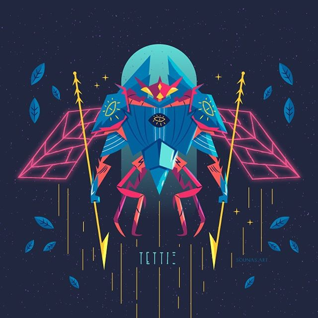 :::Cicada - Τέττιξ:::Illustration based on @thiago.lehmann original artwork!#drawthisinyourstyle #lehmann70k #cicada #vectorart #vector #adobedrawing #εικονογράφηση #greekartist #greekdesigner #character_design #τζίτζικας