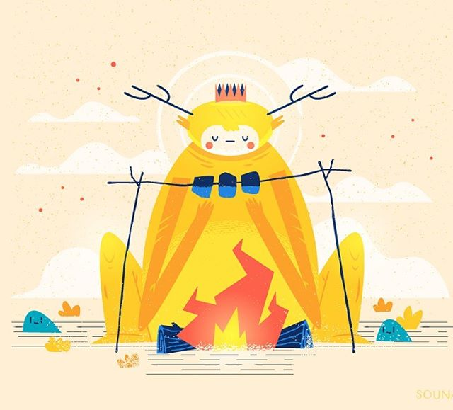 :::Campfire Monster::: This is a vector illustration I made in Adobe Illustrator for fun. I have many draft sketches with monsters, which I am turning to vector art. - - - - - - - - - - - - - - -#monster #character_design #greekartist #greekdesigners #εικονογράφηση #vector #adobedrawing #adobeillustrator #sounas #illustragram #illustration #illustragr