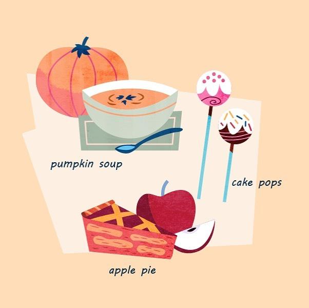 :::Autumn snack & food::: #pumpkin #vectorart #pumpkinsoup #cakepops #applepie #foodillustration