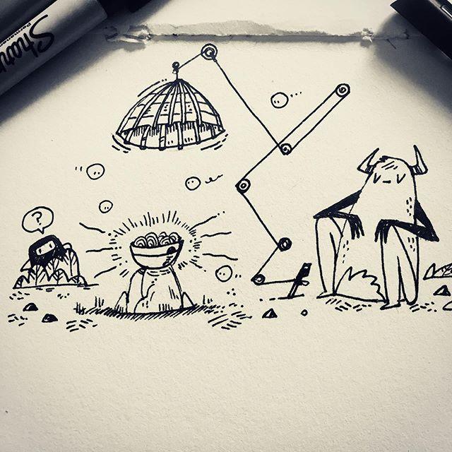 :::Inktober Day 3 : Bait::: #inktober2019 #bait #dailyart #inktoberday3 #ink #doodle #sketchbook #instart #monster #pen