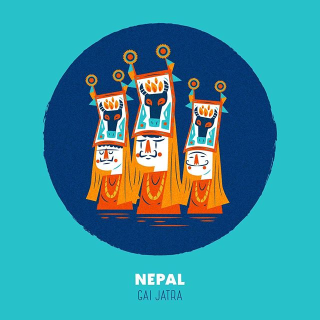 :::Spooky Places - Nepal (Gai Jatra)::: #vectorart #gaijatra #nepal #illustration #cow #faces #tradition