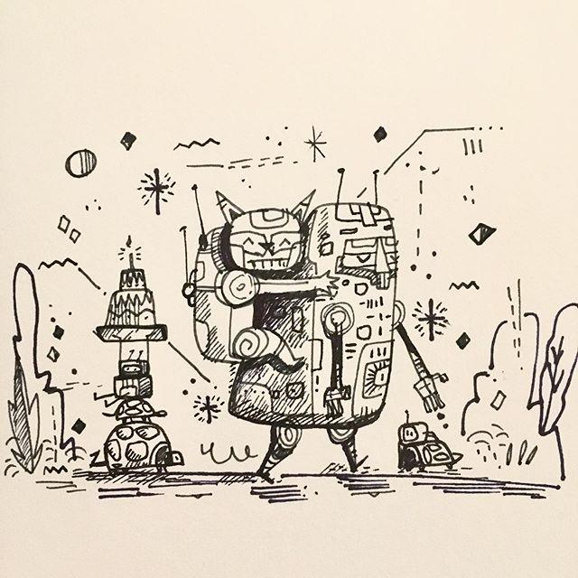 #doodle #ink #robot #cat #sketch #doodles  #illustration