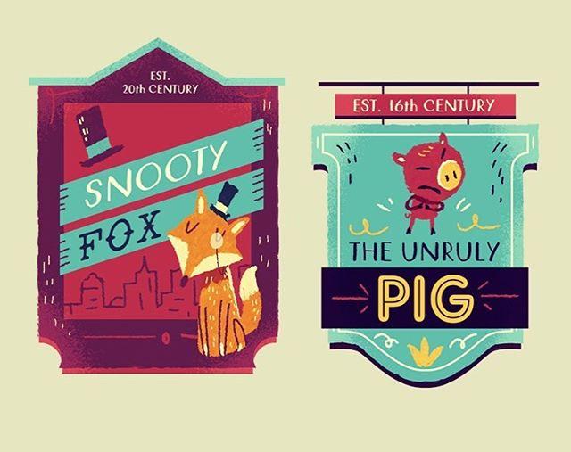 :::Illustrated pub signs::: #pub #illustration #adobedrawing #foxillustration #pig #pubsign