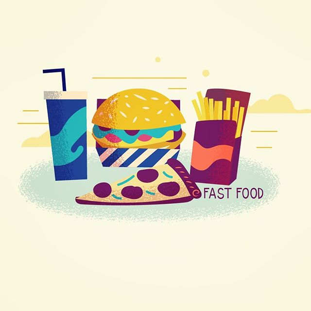 Fast food #vector #illustration #adobedrawing #burger #hamburger #fries #soda