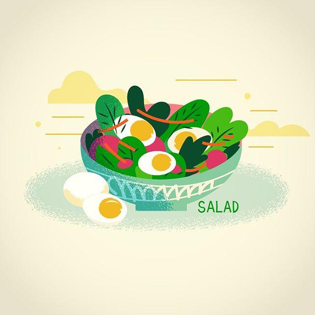 Egg salad -vector illustration #vector #salad #foodillustration #egg #adobedrawing #illustration
