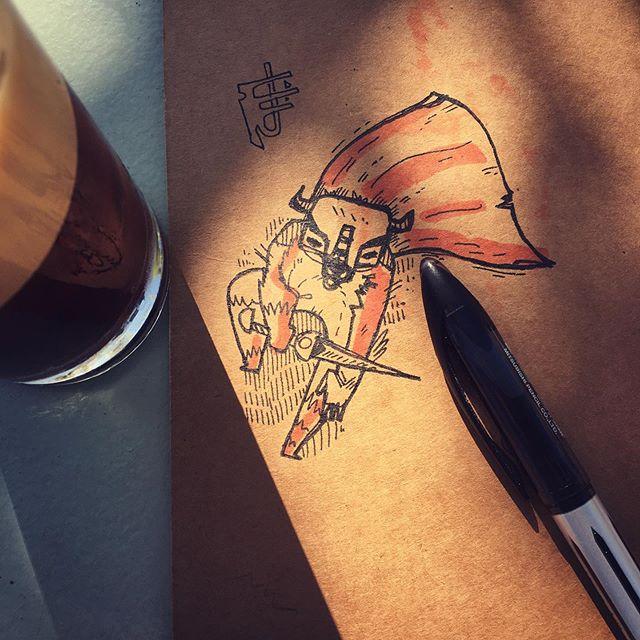 :::Minotaur Doodle::: #ink #pen #minoraur #rpg #boardgameart #sketchbook #doodle #coffee-art #μελάνι #σχέδιο #σκίτσο