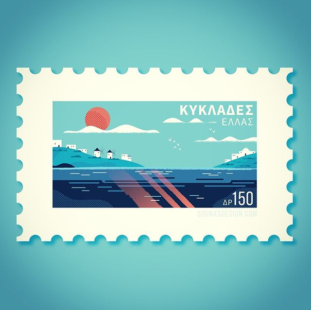 :::Cyclades islands | Κυκλάδες::: #vectorart #illustration #cycladesislands #sea #islands #greece #sun #greece #stamp #