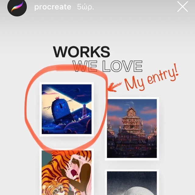 """Procreate Art Prize 2019 winners announced and my entry is among the """"Procreate's Work We Love"""". This year theme was Contrast and you can see my entry in their list. I will upload soon for you to check final artwork and process video!  #procreate #procreateapp #artprize2019  #artprize #illustration #ipadart #contrast #εικονογράφηση #σχέδιο"""