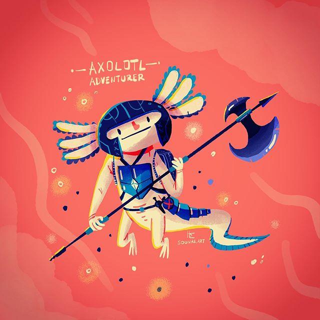 :::Axolotl Adventurer - illustration made with Adobe Fresco on ipad:::...#cdchallenge#characterdesignchallenge #conceptart #εικονόγραφηση #sounasart #characterdesign #dailyart #instaart #drawing #ipadart #axolotl #adobedrawing  #adobefresco
