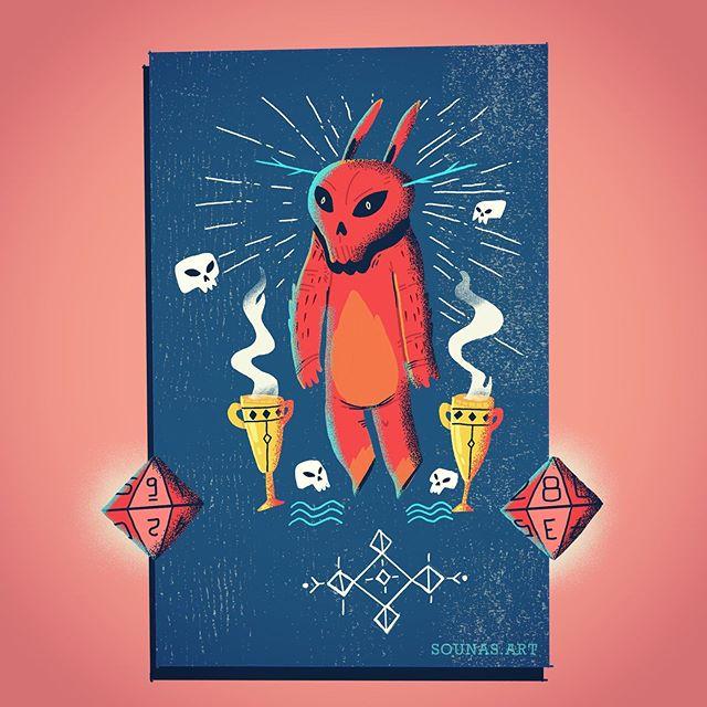 :::Δοκιμάζοντας το νέο Procreate στο ipad, βασισμένο σε προηγούμενο σκίτσο -New art in Procreate:::.....#wip #illustration #boardgame #characterdesign #monster #cardgame #dnd #dice #procreateapp #ipadart #sounasart #εικονογράφηση #boardgamedesign #