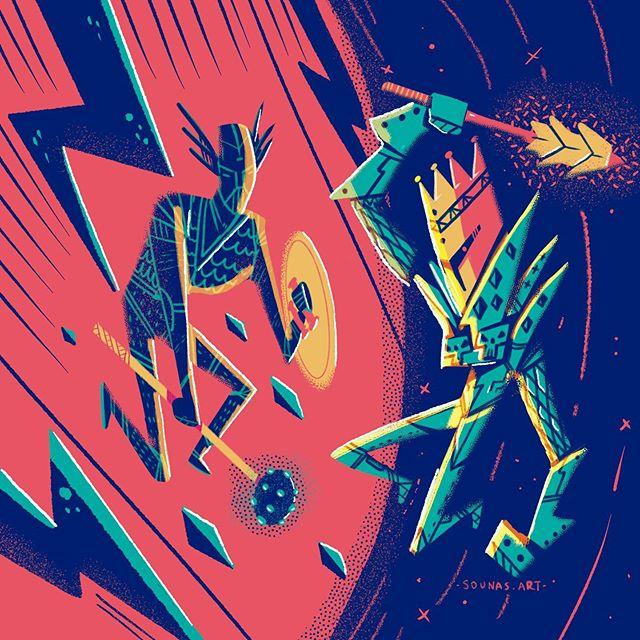 :::Σύγκρουσις-Confrontation:::...#procreate #illustration #sounasart #ipadart #instaart #ipadartwork #warriors #dnd #dungeonmaster #rpg #sauron #lotr