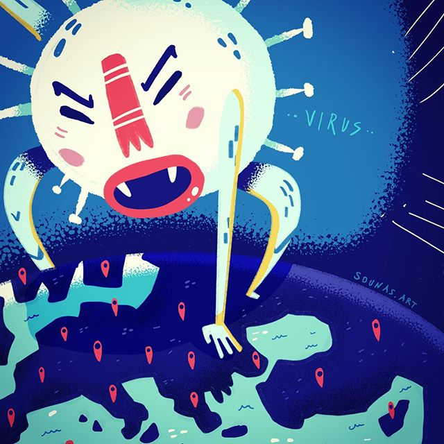 :::Κορωνοϊός πάνω από την Ευρώπη - Coronavirus over Europe::: ...#funny #illustration #editorial #procreate #timelapse #video #virus #coronavirus #europe #whimsical #digitalart #sounasart #sounas #εικονογράφηση #μένουμεσπίτι #ipadart
