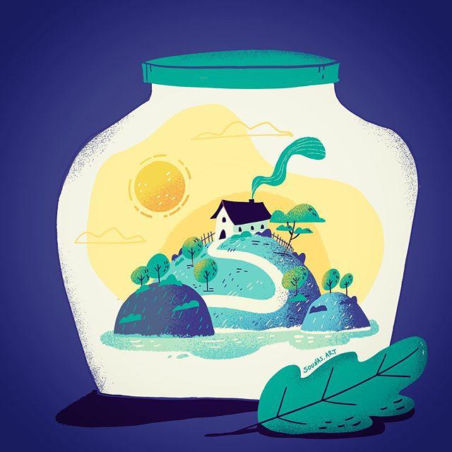 :::House in a jar:::..#landscape #illustration #procreate #house #ipadart #sounasart #timelapse #digitalart #conceptart #doodle #jar #εικονογράφηση #stayhome #μένουμεμέσα  #dailyillustration #illustrationdaily  #instaart
