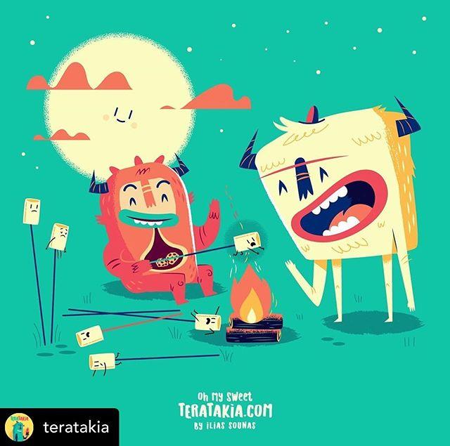 Follow @teratakia 03. Happy Campfire Marshmellows ..#illustration #vector #sounasart #characterdesign #chocolate #monster  #marshmellow #campfire #cookiemonster