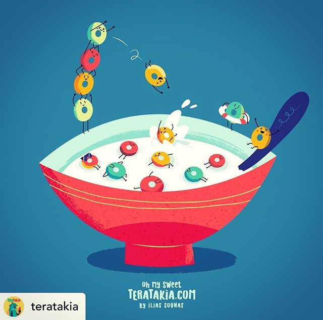 Follow @teratakia 04. Breakfast Loops #illustration #vector #sounasart #characterdesign #chocolate #monster #fruitloops #cereal #milk