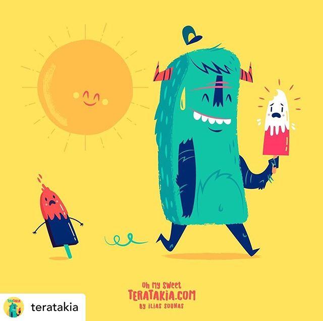 Follow @teratakia05. Yummy ice cream#illustration #vector #sounasart #characterdesign #chocolate #monster #icecream #funny #summer #popsicle