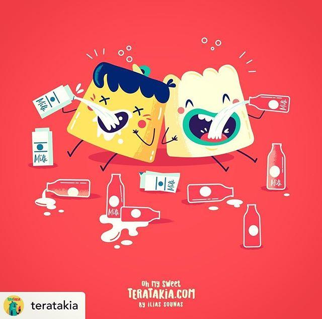Follow @teratakia 06. Milk Hangover (with Creme Caramel & Pannacotta Boy).#illustration #vector #teratakia #pannacotta #cremecaramel #sounasart #sweets #vectorart #vectorillustration #funny #adobeillustrator #comics #milk #dailyart #instart
