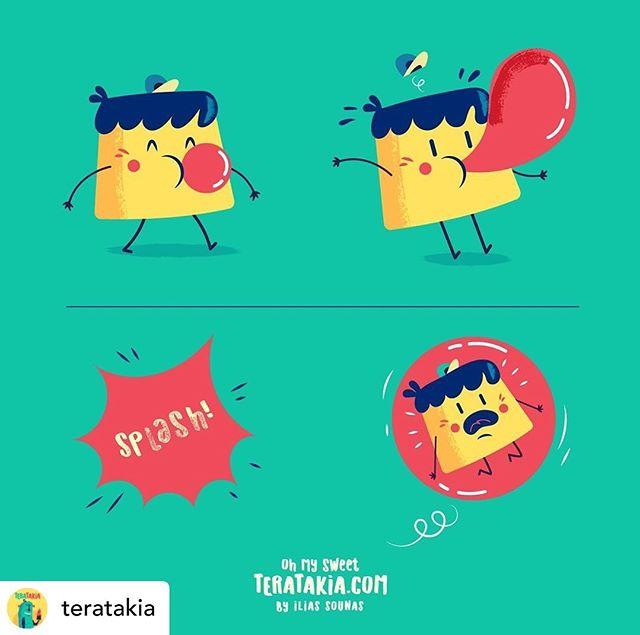 @teratakia 07.  Bubble gum (with Creme Caramel)..#illustration #vector #instart #characterdesign #teratakia #sounasart #εικονογράφηση #bubble #cartoon #gum #crèmecaramel