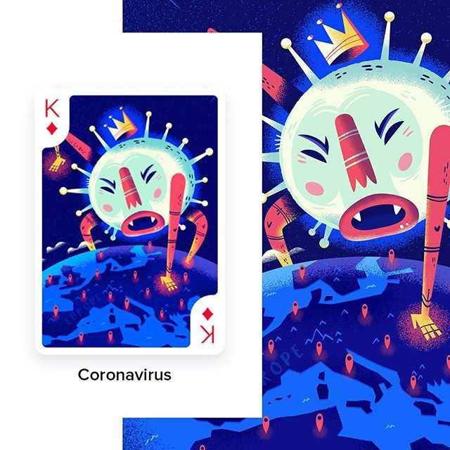Oimachi.co studio is having a project about Coronavirus, playing cards illustrated with a pandemic theme. If you want to contribute, you can visit Oimachi.co/ CardsAgainstCorona ..#illustration #coronavirus #illustration_best #dailyart #playingcards #playingcardsart #εικονογράφηση #sounasart