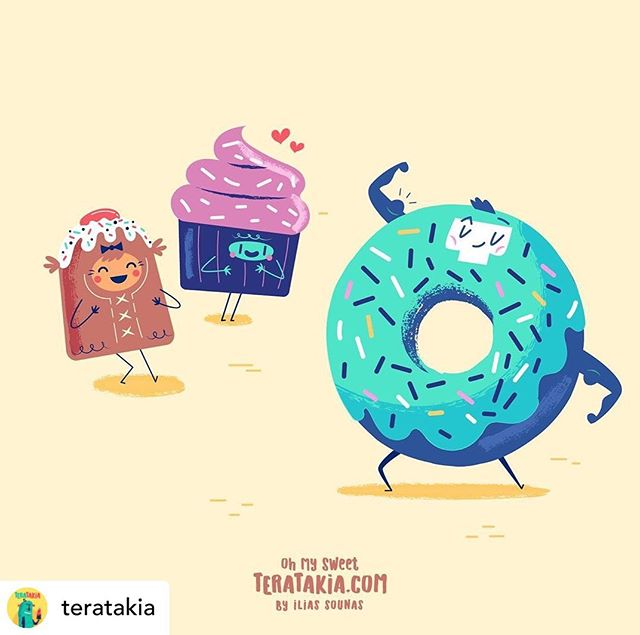 @teratakia 18. Mr Gym Donut  ( with Bon Bon & Miss Cupcake)..#teratakia #donut #sweets #vector_illustration #vectorart #funny #gym #εικονογράφηση #dailyart #illustration #adobeillustrator #illustragram #sounasart #characterdesign
