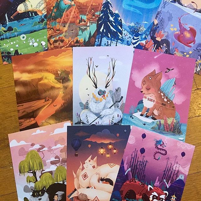 Posted @withregram • @treksalot13 Yay!  The first 10 postcards / 5x7 prints have landed in my little raccoon paws! 🦝  Embrace the written word and connect with friends and family around the globe or just frame them like I do 🥳. Whatcha think!.These aren't in the #etsy shop yet, but should be in a day or two 😀. Treksalot dot com or bio link it y'all!.#postcard #sayhello #artprint #artforsale #etsyprints #etsyshop #etsyseller #etsysellersofinstagram #treksalot #homedecor #animals #monsters #illustration #cute #love #friends #handmade #newzealand #latvia #sweden #belize #norway #bulgaria #chile #newyork #turkey #china #smallbusiness #standwithsmall
