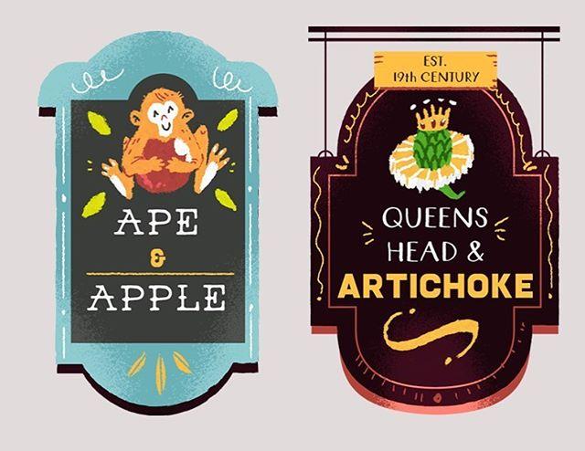 :::Illustrating pub name signs:::..#photoshop #digitalillustration #pub #drinks #sketch #doodle #infographic #ape #funny #instaart #sign #pubsign #uk #london #adobedrawing