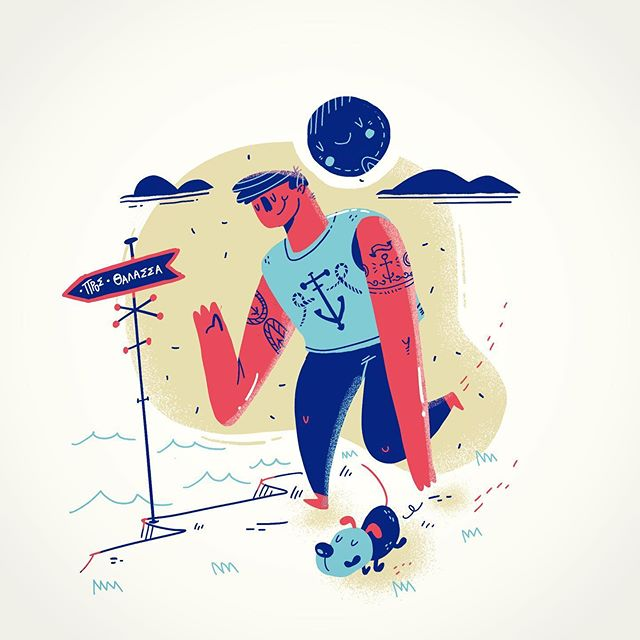 :::To the Sea - illustration in Procreate. Summer is coming :) :::..#illustration #procreate #sounasart #sea #ocean #greece #summer #dig #flatillustration #fashion #ipadart #εικονογράφηση #illustration_daily #illustration_best #childrensbookillustration